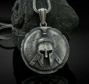 Spartan Silver Pendant, Spartan Shield Pendant, Greek Warrior Necklace, Men Gift
