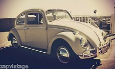 "Vintage 1962 VW Bug (Beetle, Herbie) Car COLOR Photo 8"" X 12"""