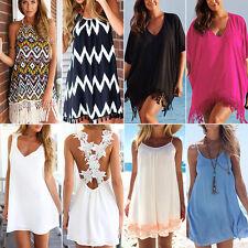 Damen BOHO Kleid Sommerkleid Kurz Minikleid Strandkleid Freizeit Party Urlaub