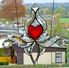"""Bleiverglasung Fensterbild Suncatcher Facettenbild """"Mittelherz""""  in Tiffany"""
