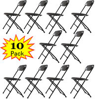 (10 PACK) Commercial Patio Outdoor Beach Plastic Folding Chairs Black