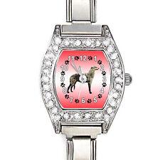 Scottish Deerhound CZ Womens Stainless Steel Italian Charm Bracelet Watch BJ1128