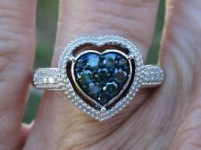.56ctw SPARKLING HEART WHITE and BLUE DIAMOND RING Sz 8