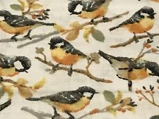 Fabric Birds Yellow Breasted Warbler on White Cotton by the 1/4 yard
