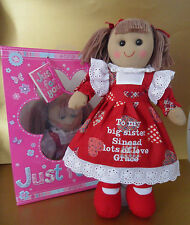 """PERSONALISED RED RAG DOLL NEW BABY BIG / LITTLE  SISTER BIRTHDAY 16"""" & GIFT BAG"""