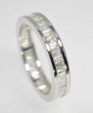 G / SI 1.00 ct baguette taglio diamanti Full Eternity anello nuziale in 9k oro bianco