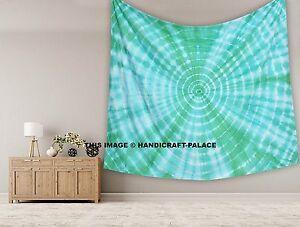 Tie Dye Shibori Mandala Green Tapestry Indian King Size Wall Hanging Home Decor