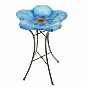 IMPERFECT Gardman Wild Bird Bath Forget Me Not Blue Flower Glass Decor A01465