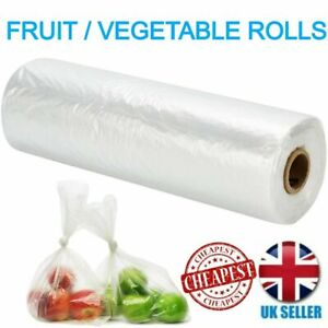 Polythene Bags Roll Fruit Vegetable Clear Plastic Butchers Grocery Counter Bag