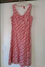Divided H&M dress women's L cotton sleeveless zip back Polka dot red pink B1