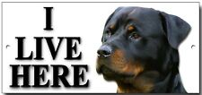 "ROTTWEILER  ""I LIVE HERE"" METAL SIGN,DOG BREEDS,SECURITY,WARNING."