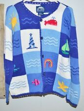 REY WEAR Hand Knitted Bolivia Cotton Nautical Beach Novelty Cardigan Sweater M/L