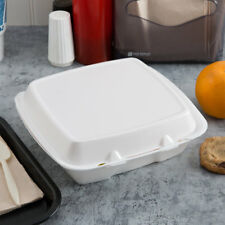 """(200-Pack) 9"""" x 9"""" x 3"""" White Foam Square Take Out Containers with Hinged Lid"""