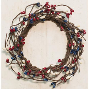 """Pip Berry Candle Ring / Wreath 3.5"""" Inner Dia - Country Mix - Red, Ivory, Blue"""