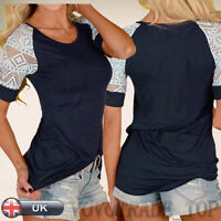 Fashion Casual Women Ladies Short Sleeve Lace Blouse T Shirt Summer Tee Tops New