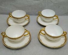Limoges France L. Bernardaud & Co 4 Soup Cups & Saucers  Set