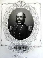 Ambrose E. Burnside Union General 1863 Virtue Civil War military portrait