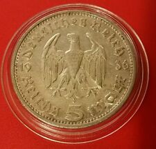 L'Allemagne Nazi 5 REICHSMARK 1936 E .900 silver coin Prot Caps 463
