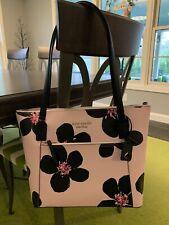 kate spade new york WKRU6743 Cameron Grand Flora Leather Handbag - Pink/Blue