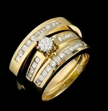 2.5 CT Round cut Diamond 14K Yellow Gold Over Wedding Trio Ring Set All Size