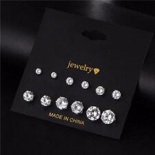 6 Pair Womens Silver CZ Crystal Rhinestone Ear Stud Earrings New Fashion Jewelry