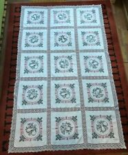 Hand Embroidered Linen Antique Tablecloth