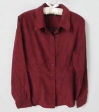 New York & Company burgundy faux suede long sleeve shirt blouse *Sz L*