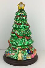 Thomas Pacconi Blown Glass Painted Table Top Christmas Tree on Wooden Base