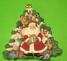 Fitz & Floyd Christmas Collectible Santa Gingerbread Candy Tree Plate