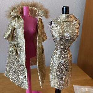 Dressmaker Details Barbie Doll Formal Couture Gold Dress Coat Fur Shoes Bag 50