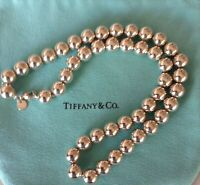 AUTHENTIC TIFFANY & CO. 925 STERLING SILVER 10MM BEAD NECKLACE W/POUCH & BOX