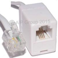 2m ADSL RJ11 Extension Cable RJ 11 Plug to Socket Modem Router Extn Lead White