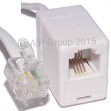 3m ADSL RJ11 Cable de extensión Rj 11 Plug para Socket Modem Router extn Plomo Blanco