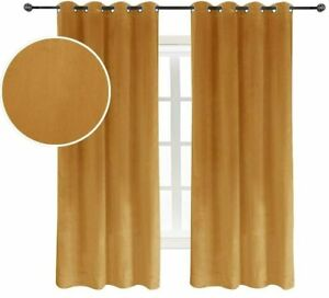 Super Soft Luxury Velvet Curtains Light Blocking Velvet Curtain (52W*63L Orange)