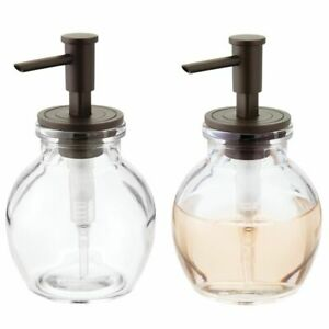 mDesign Round Glass Refillable Liquid Soap Dispenser Pump, 2 Pack - Clear/Bronze