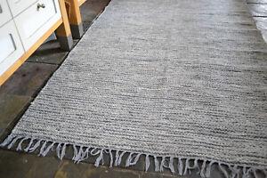 Scandi Style 100% Cotton woven rugs. 3 sizes, Chunky Grey fleck Large size rug