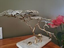 Brutalist Brass Brain Bijan Jere  Bonsai Pagoda Tree Table top Sculpture
