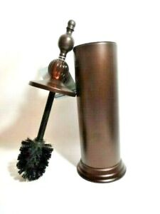 Bronze Toilet Brush Holder With Lid Glass Knob Rust Resistant Brushed Brown Bath