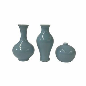 3 x Chinese Clay Ceramic Pastel Blue Color Wu Small Vase Set ws1531
