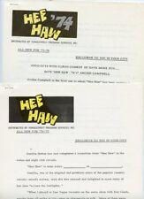 GUNILLA HUTTON ARCHIE CAMPBELL HEE HAW RARE ORIGINAL 1974 TV PRESS MATERIAL