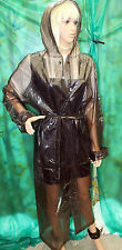 shiny glass black c thro pvc vinyl long raincoat hooded mackintosh tv mistre Lge