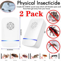 2Pcs Ultrasonic Pest Repeller Repellent Rat Mouse Spider Insect Electric UK Plug
