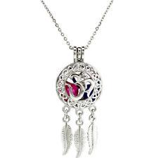 K704 Ohm Wisdom Hindu Peace Yoga Charm Necklace - Pearl Cage Locket Pendant