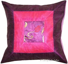"17"" Purple Cushion Pillow Cover Silk Brocade Embroidered Throw Indian Decorative"