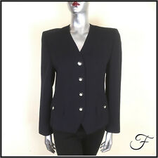Vintage Horst Basler Blazer Jacket Trevira Navy Wool Blend Tennis Buttons  8