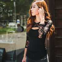 Fashion Sexy Women Lace O-Neck Long Sleeve Ladies T-Shirt Casual Blouse Tops New