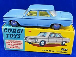 Vintage Corgi 229 Chevrolet Corvair Mid Blue In Its Original Box 1961-66