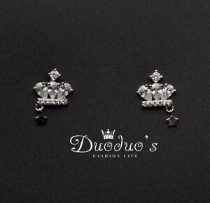 925 Sterling Silver Zircon Crown & Little Star Stud Earrings