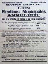 Affiche POLITIQUE Elections Municipales Annulées Arcueil 1959 Haÿ CACHAN MARNE
