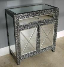Mirrored Storage Cabinet Vintage 2 Door 1 Drawer Home Living Furniture Cupboard